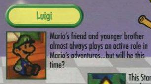 Picture of Luigi's description in Paper Mario manual